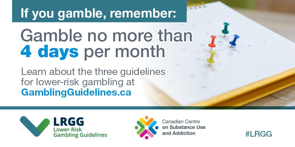 Gamble no more than 4 days per month.